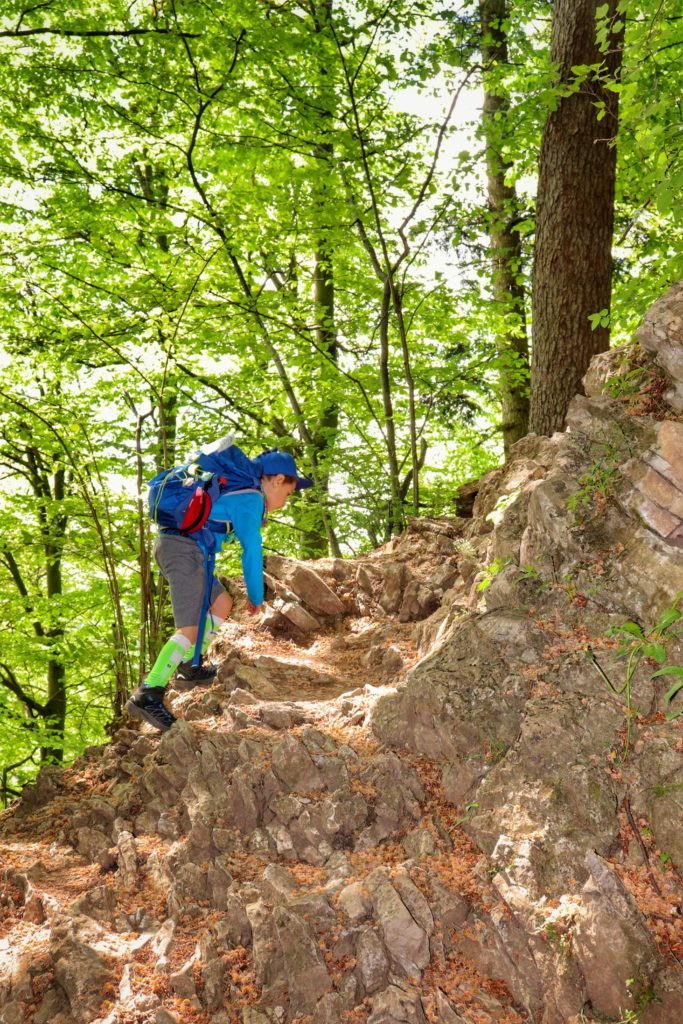 Dziecko wspinające się na skałkach, strome podejście na pienińskim szlaku