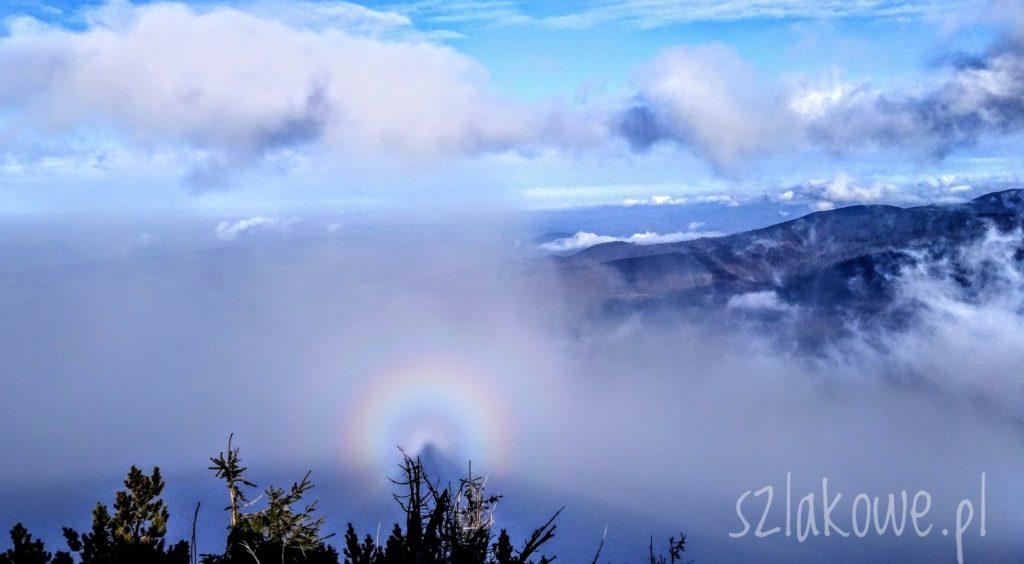 Mała Babia Góra, zjawisko optyczne Widmo Brockenu z tęczową obwolutą