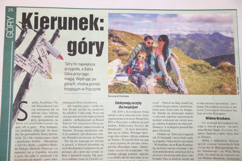 Fragment artykułu z gazety o rodzinie, której pasją są góry
