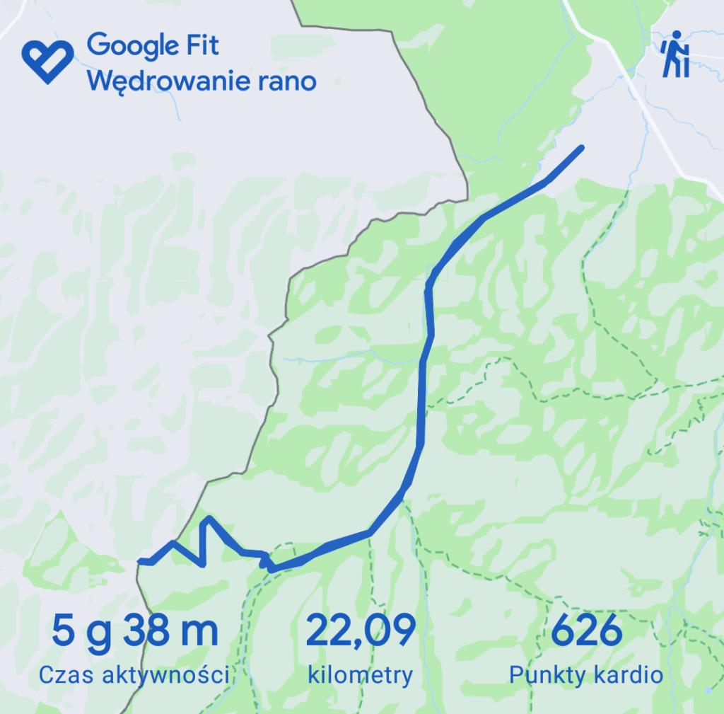 Zrzut ekranu z aplikacji GoogleFit - trasa z parkingu - Dolina Chochołowska na Grzesia