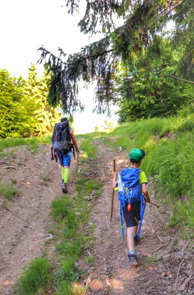 Dziecko z tatą, strome podejście na beskidzkim szlaku, las